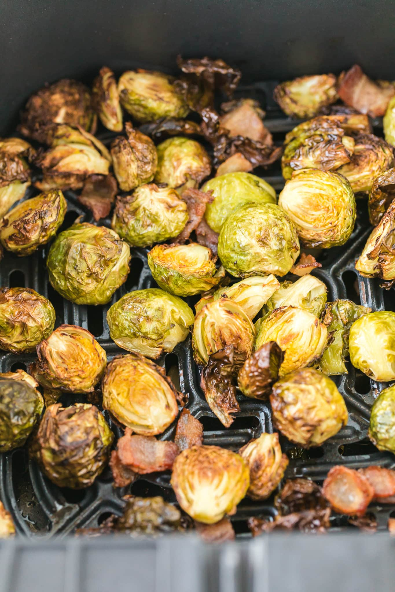 cooked brussels sprouts in an air fryer