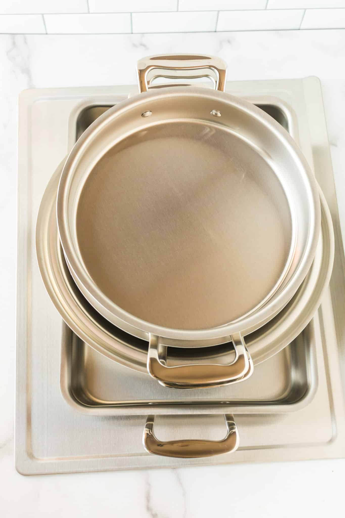 Stainless steel bakeware set made by 360 Cookware on a countertop