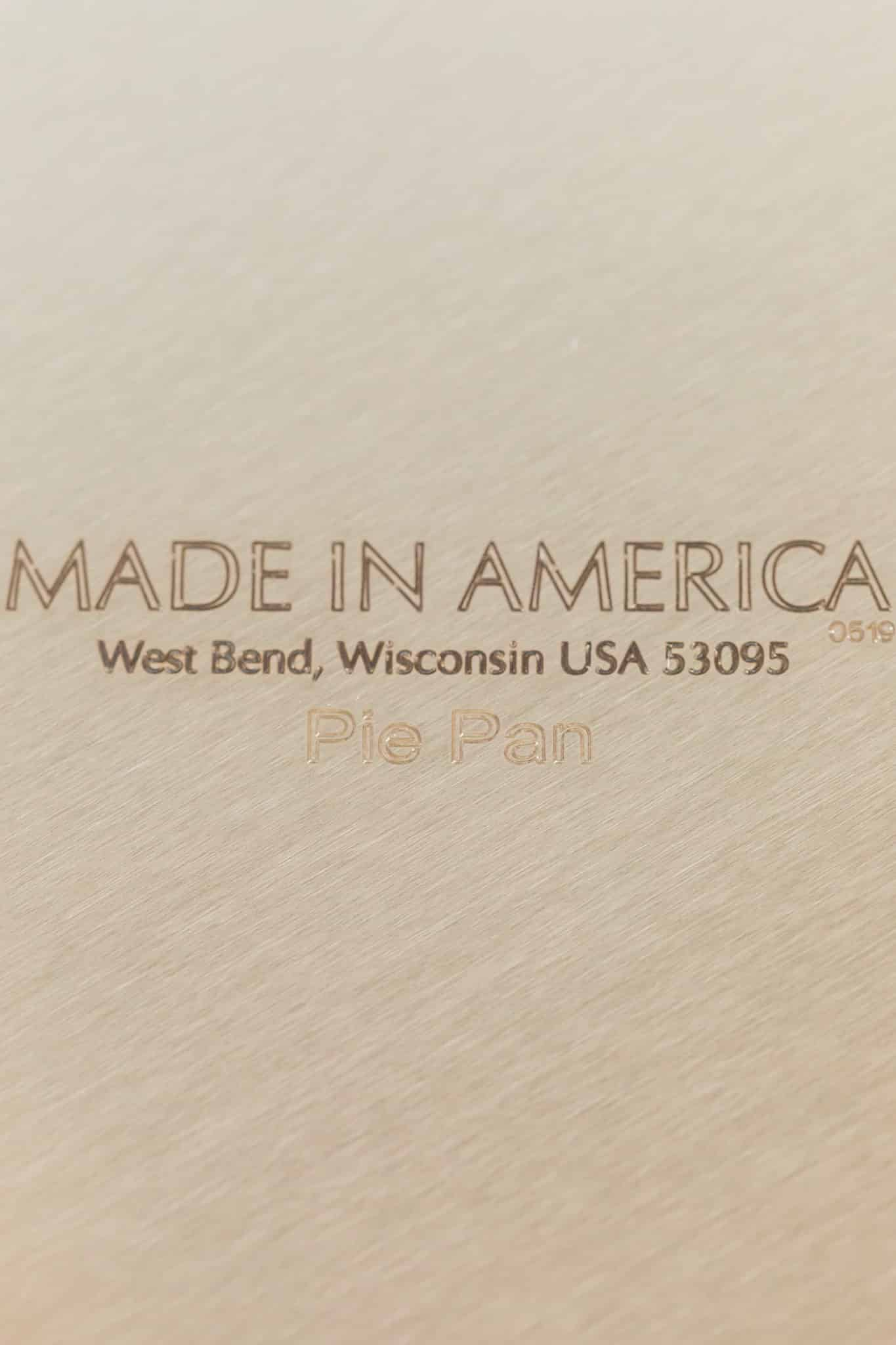 underside of a pan inscribed with the made in america label