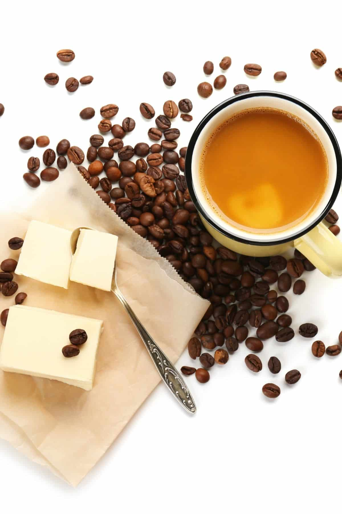 ingredients for butter coffee on a tabletop