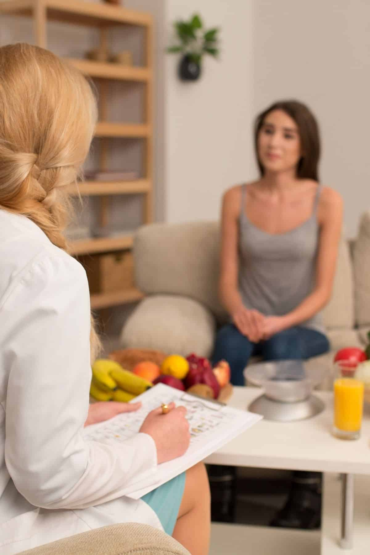 dietitian working with a young woman client