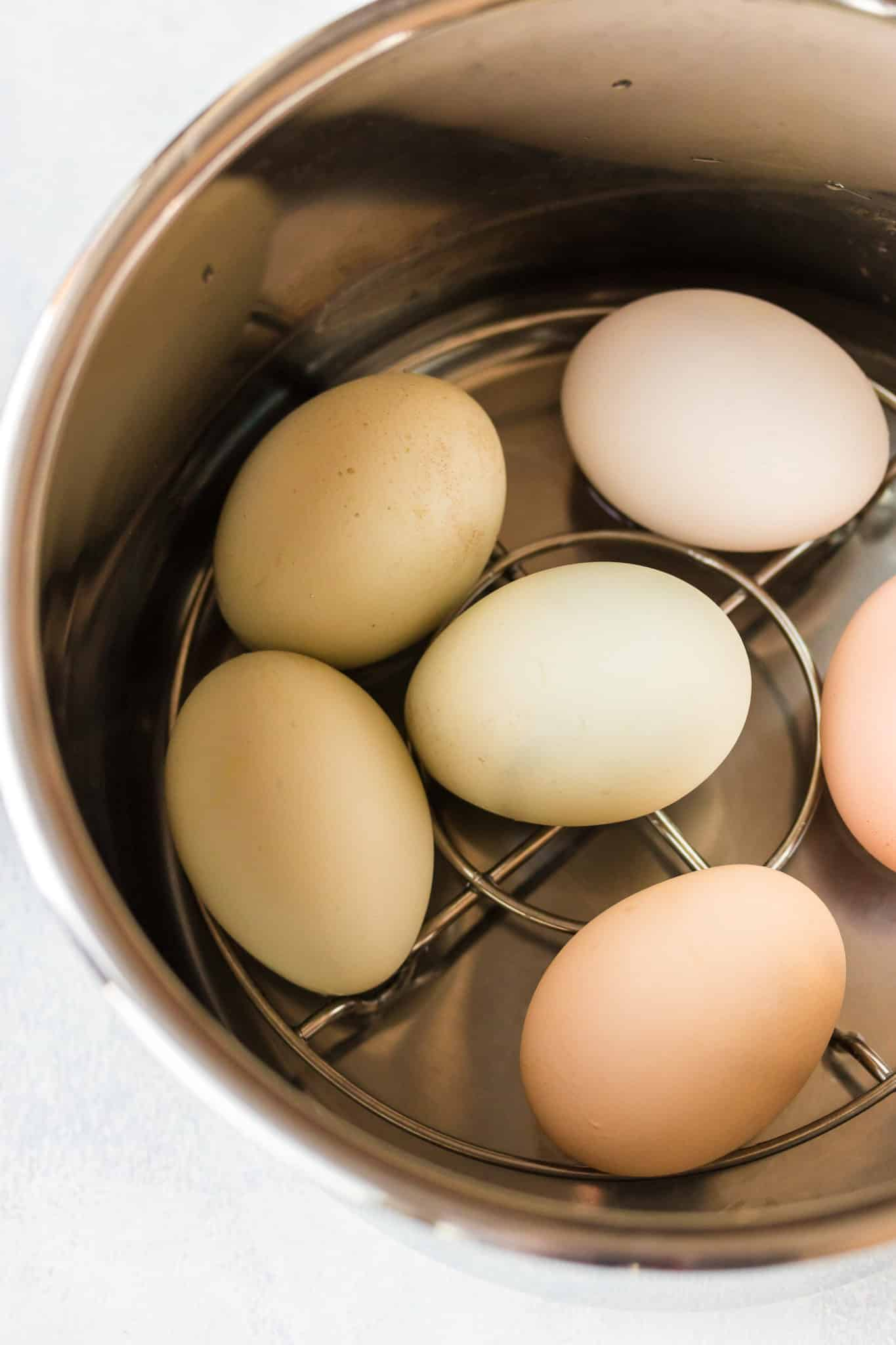 eggs inside an instant pot pressure cooker ready to be cooked