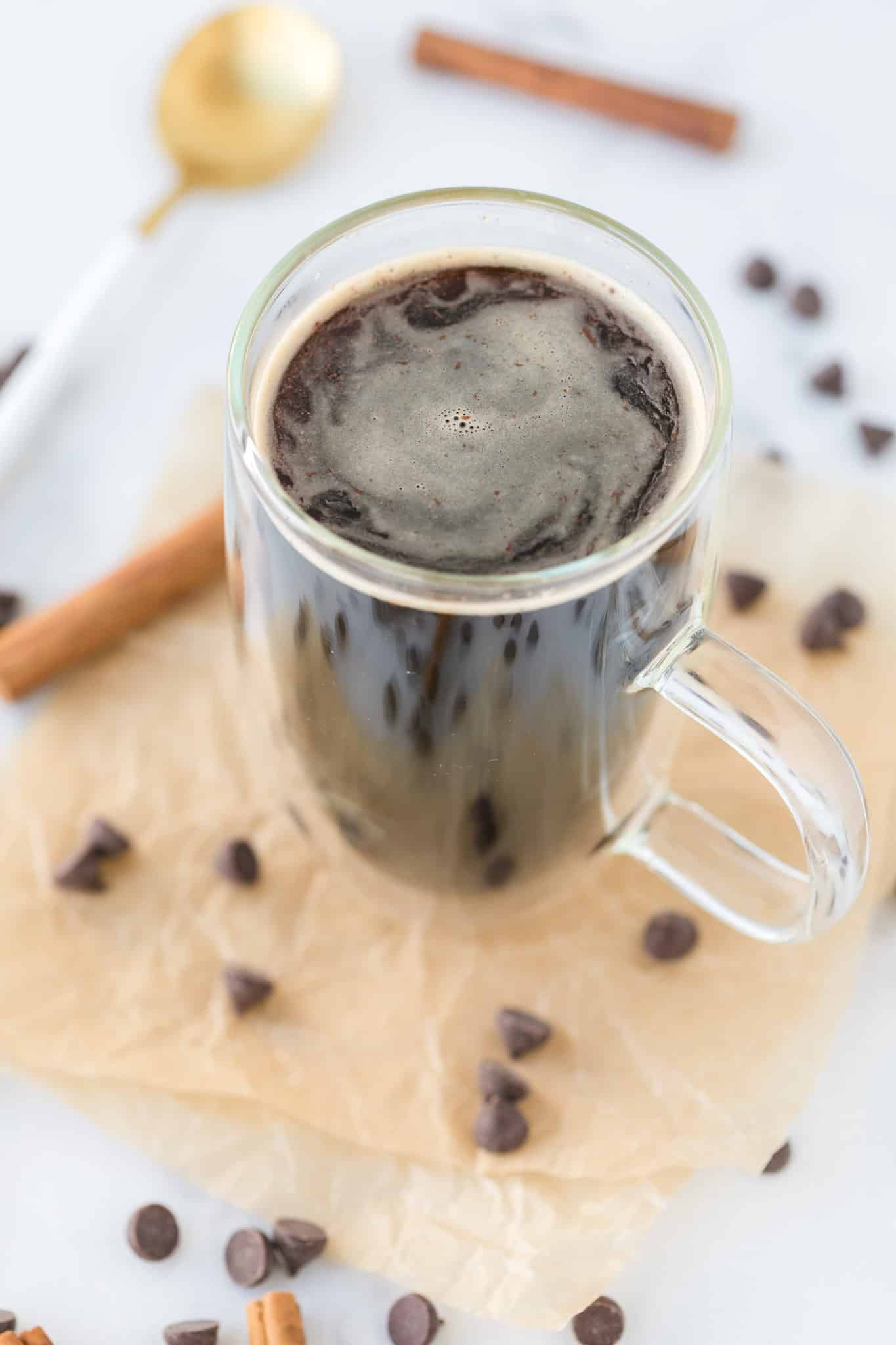 healthy hot chocolate served in a clear mug with a handle