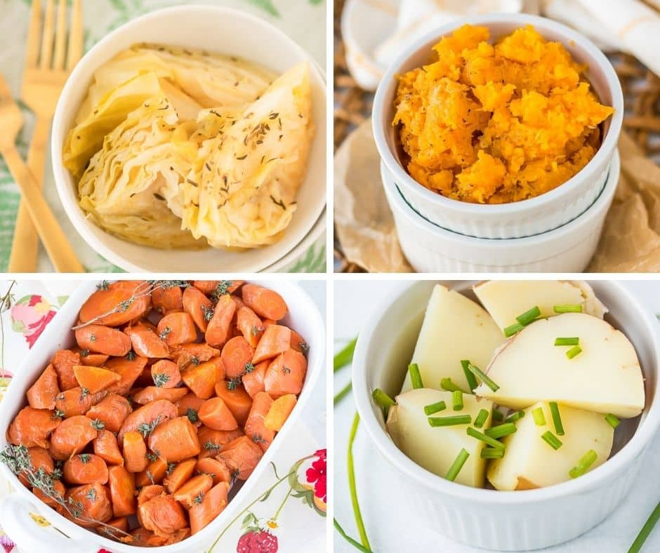 collage of instant pot side dish recipes
