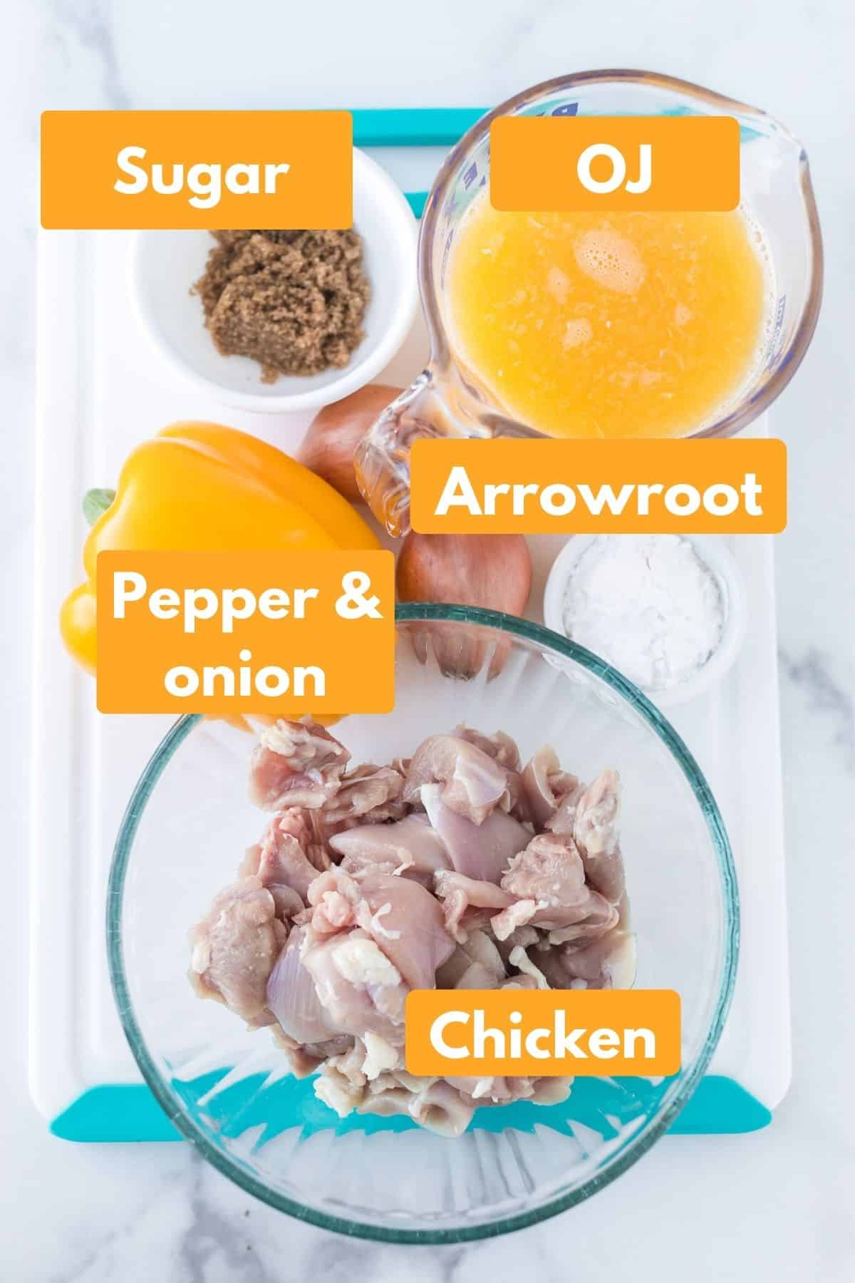 labeled photo with ingredients for instant pot orange chicken