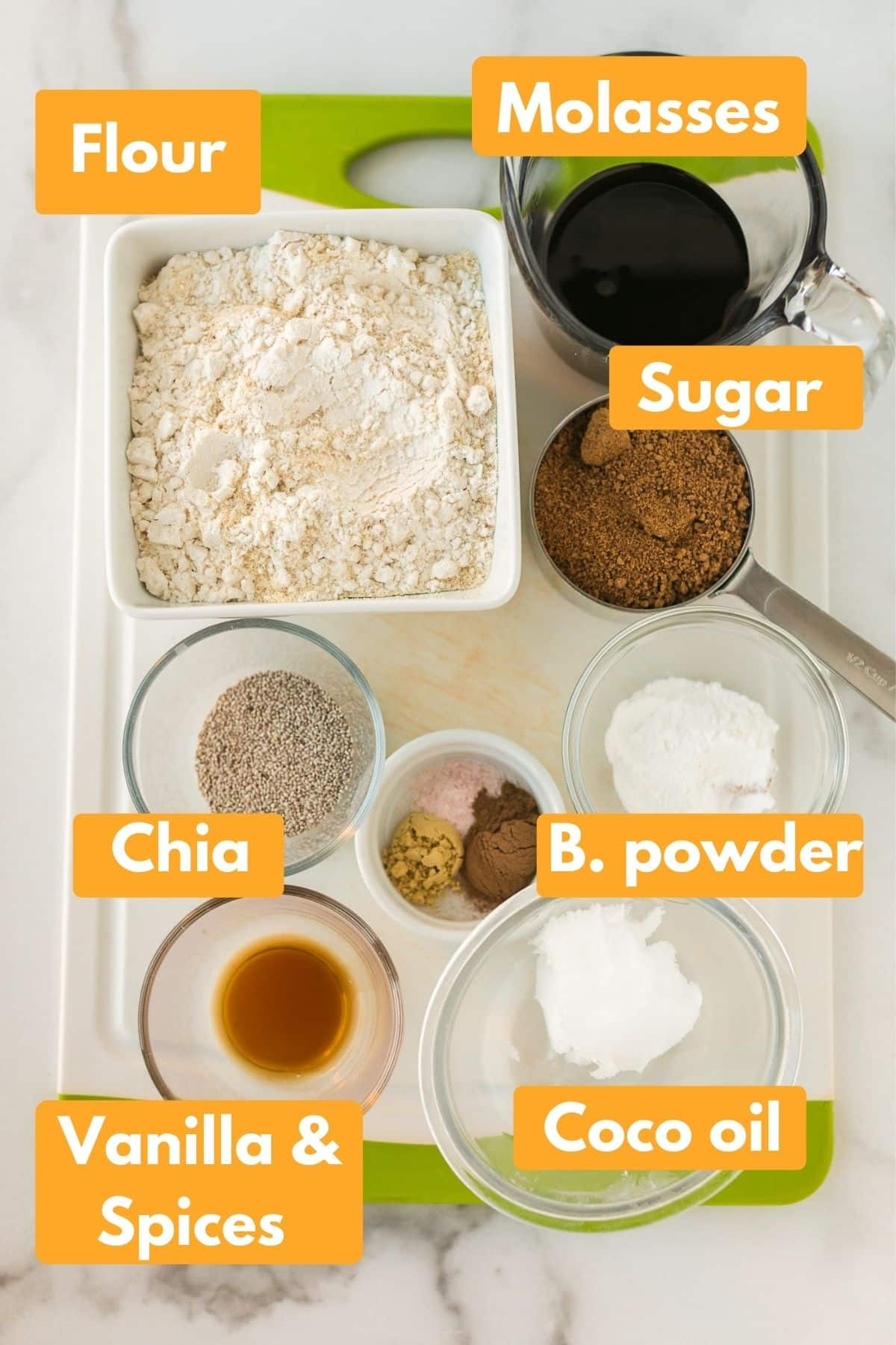 photo with ingredients for vegan molasses cookies