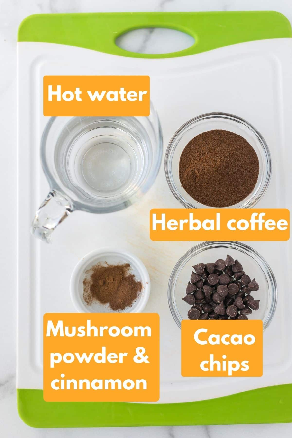 photo with labeled ingredients for healthy hot chocolate