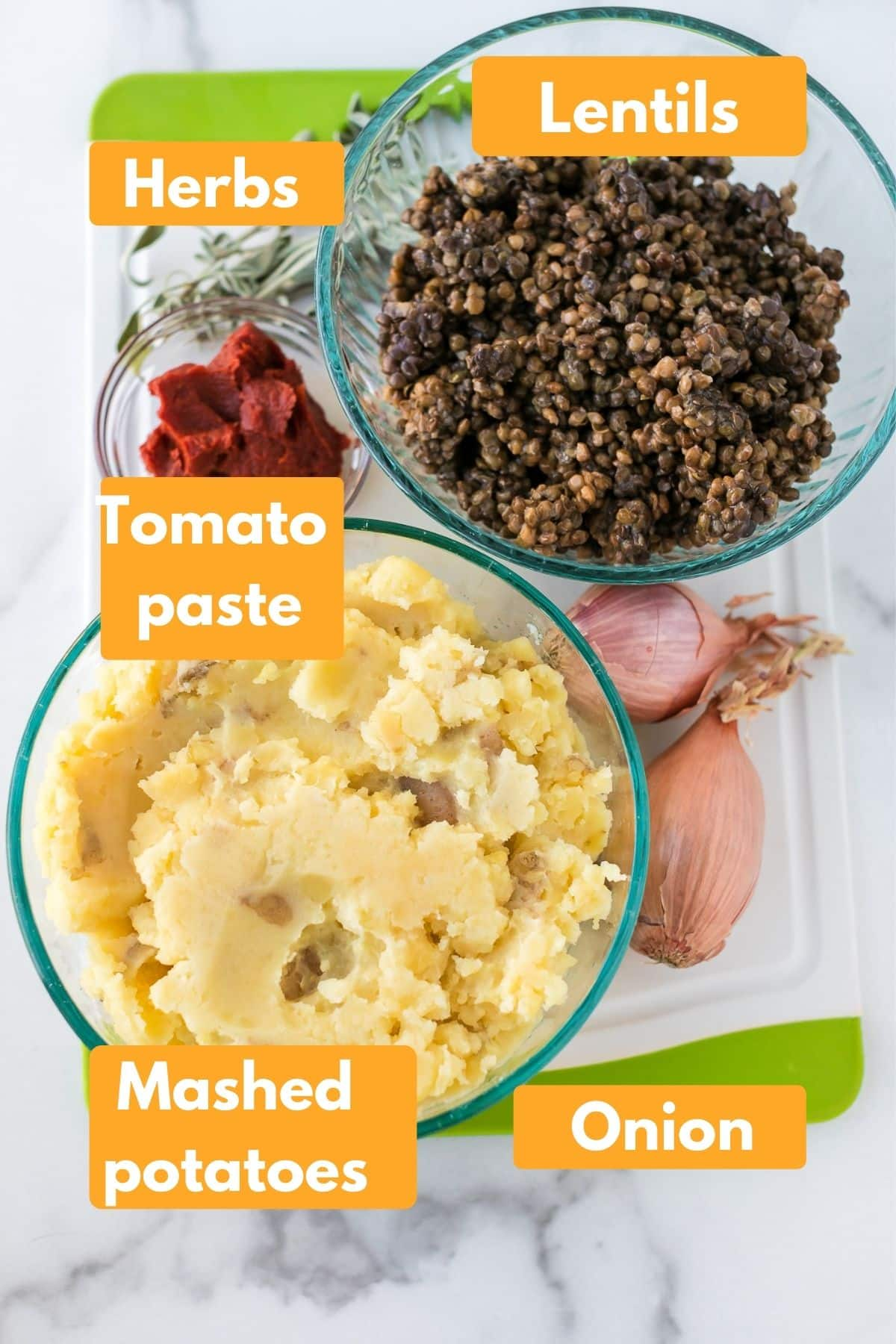 photo with labeled ingredients for vegan lentil shepherd's pie