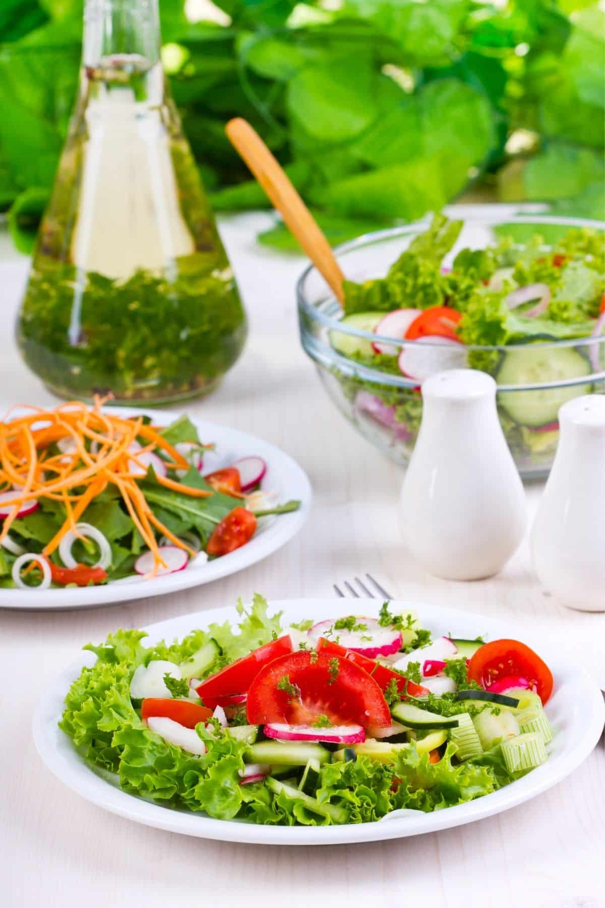 fresh salad with chopped vegetables