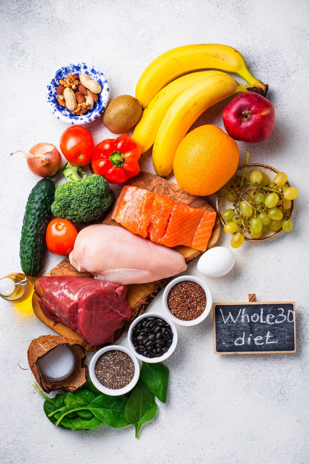 whole30 diet foods on a table