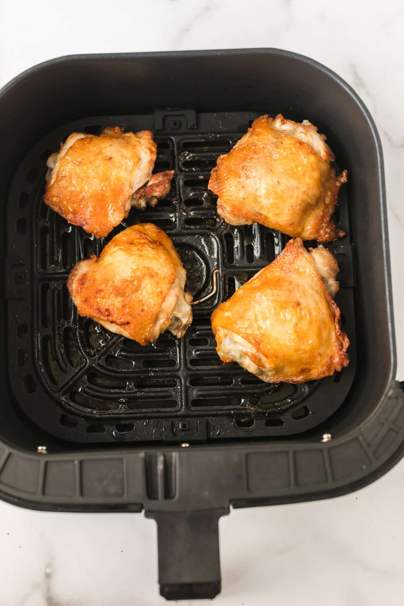 cooked air fryer chicken thighs ready to be served