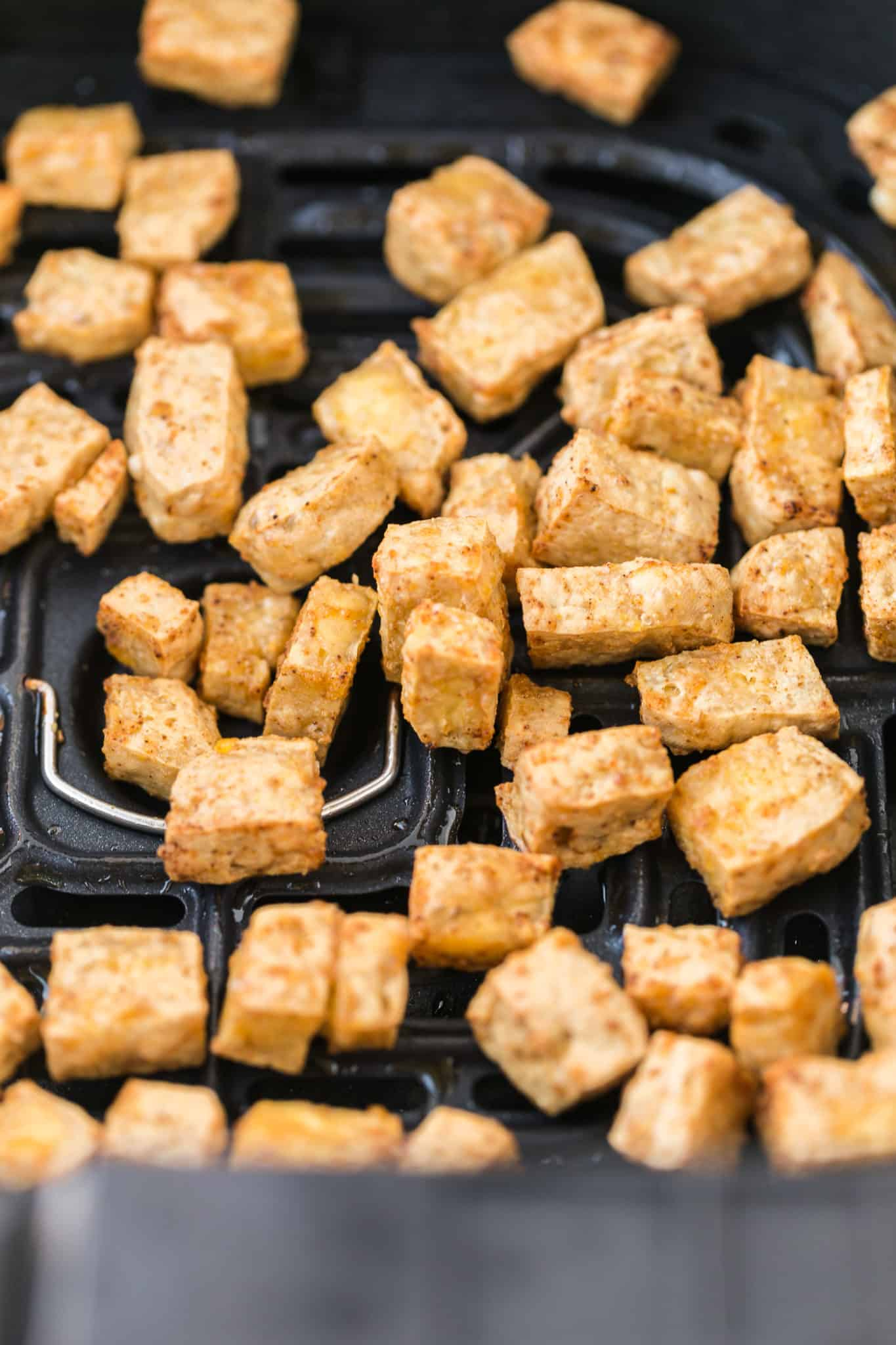 crispy tofu done cooking in an air fryer