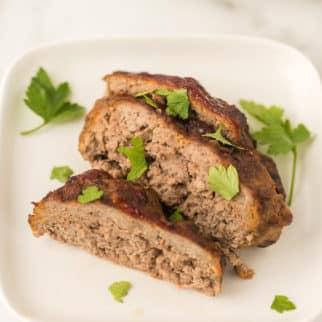 sliced air fryer meatloaf served on a plate