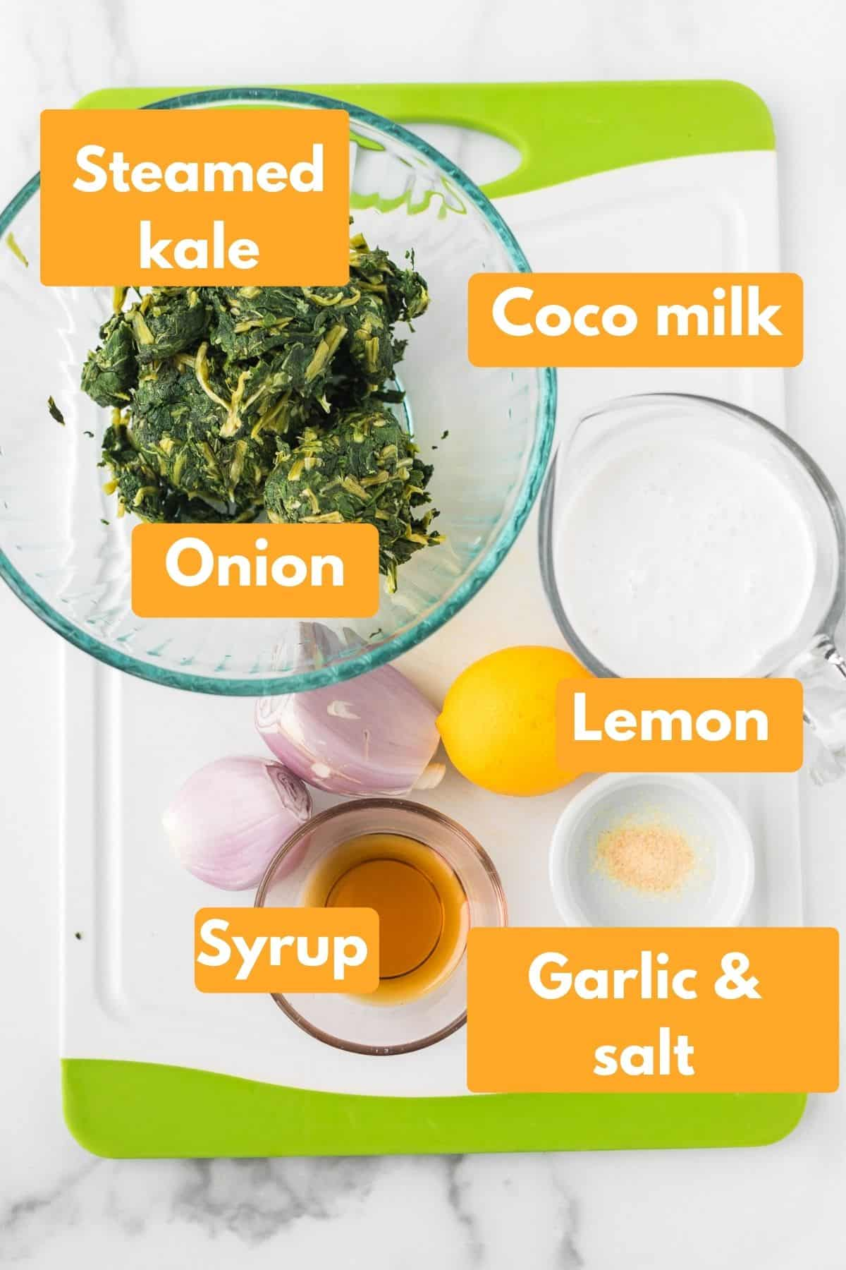 labeled ingredients for creamed kale recipe