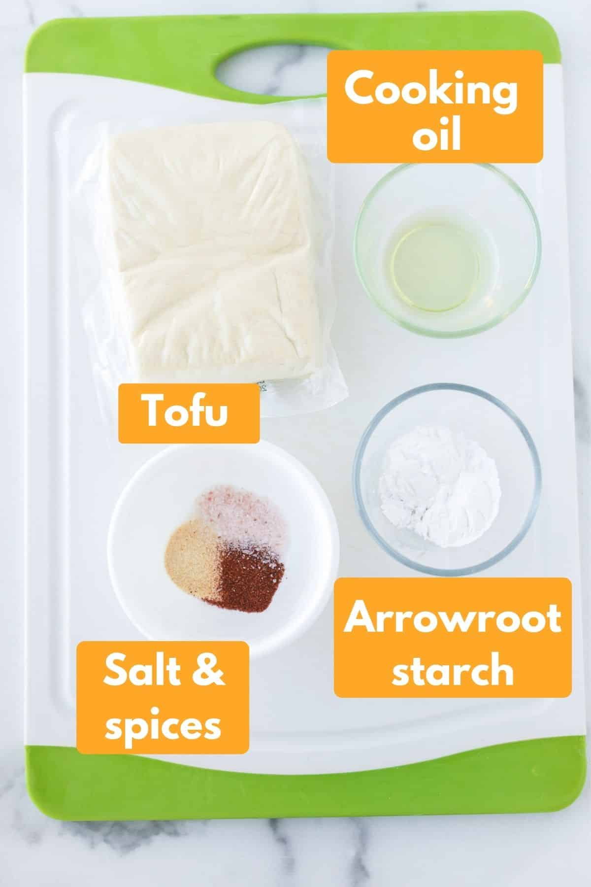 labeled photo with ingredients for air fryer crispy tofu