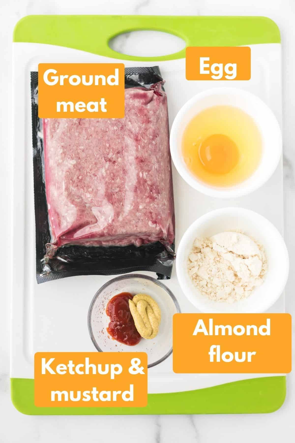 labeled photo with ingredients for air fryer meatloaf