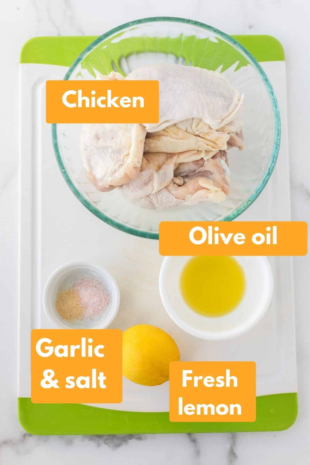 photo with labeled ingredients for air fryer chicken thighs