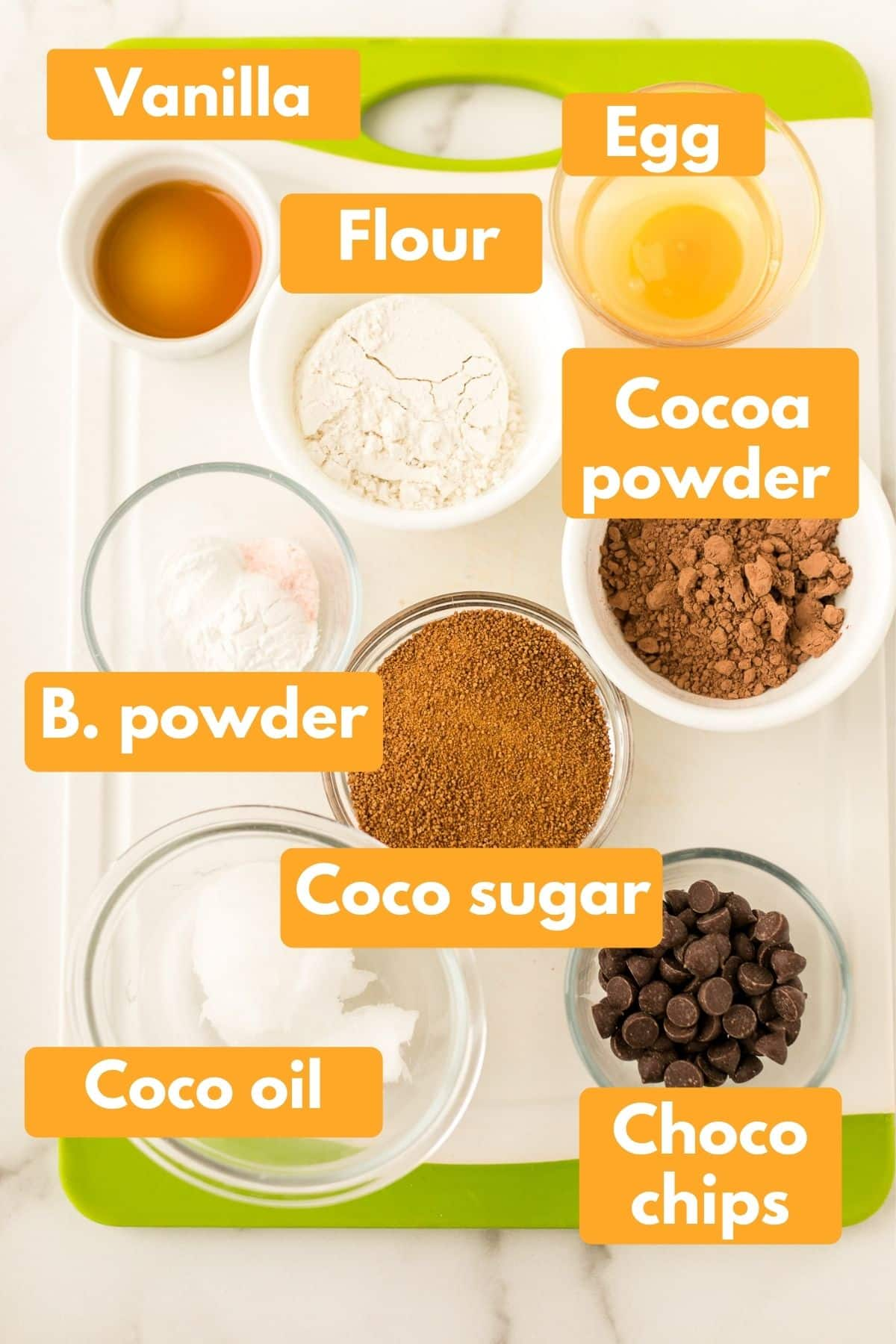 photo with labeled ingredients for instant pot brownie bites