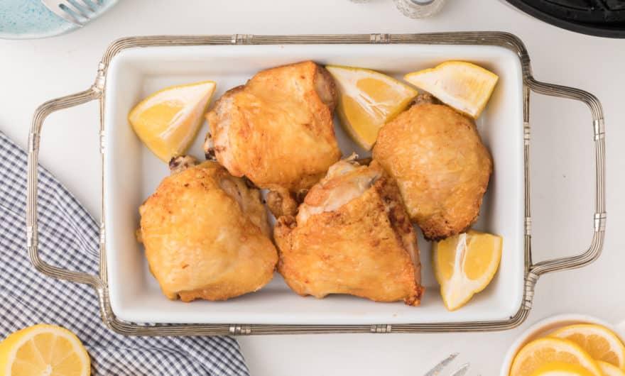 platter of chicken thighs