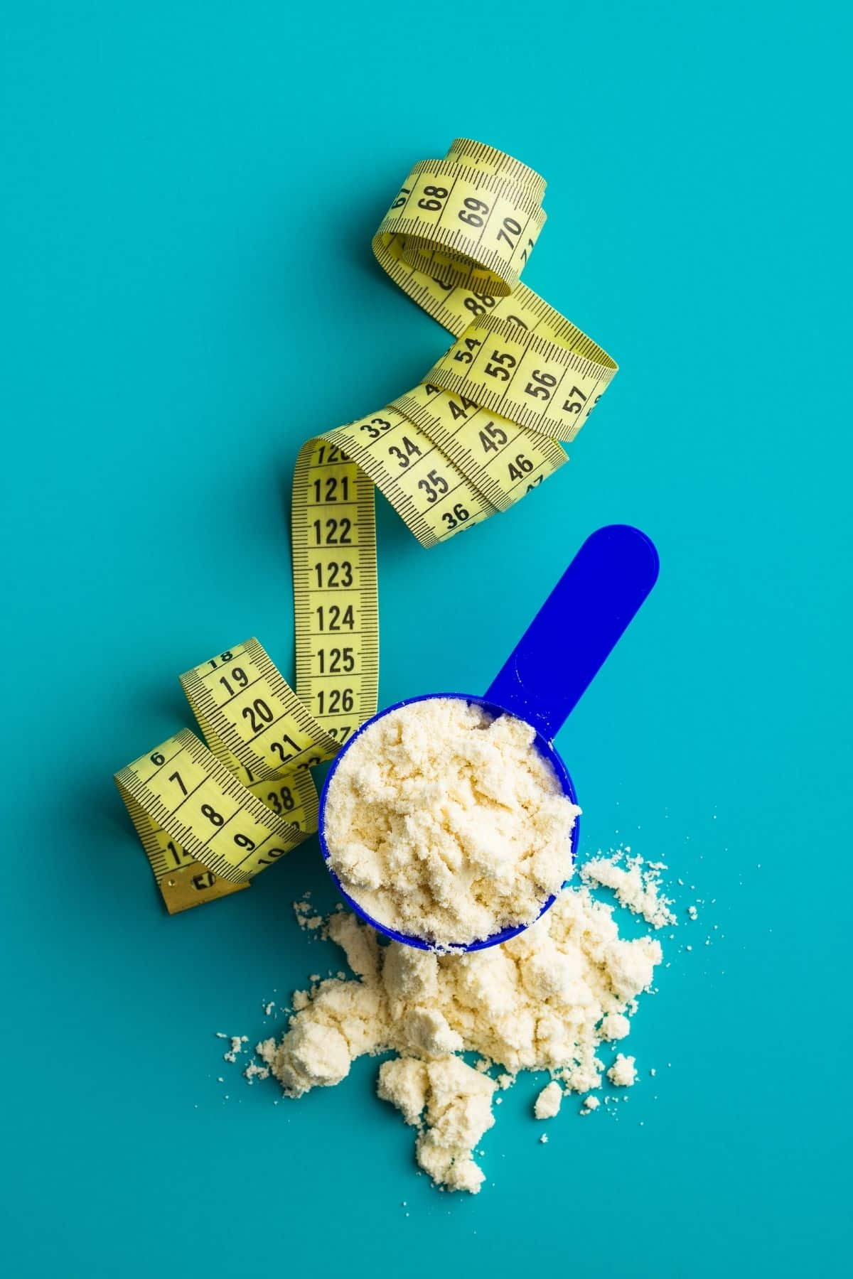 protein powder with a measuring tape