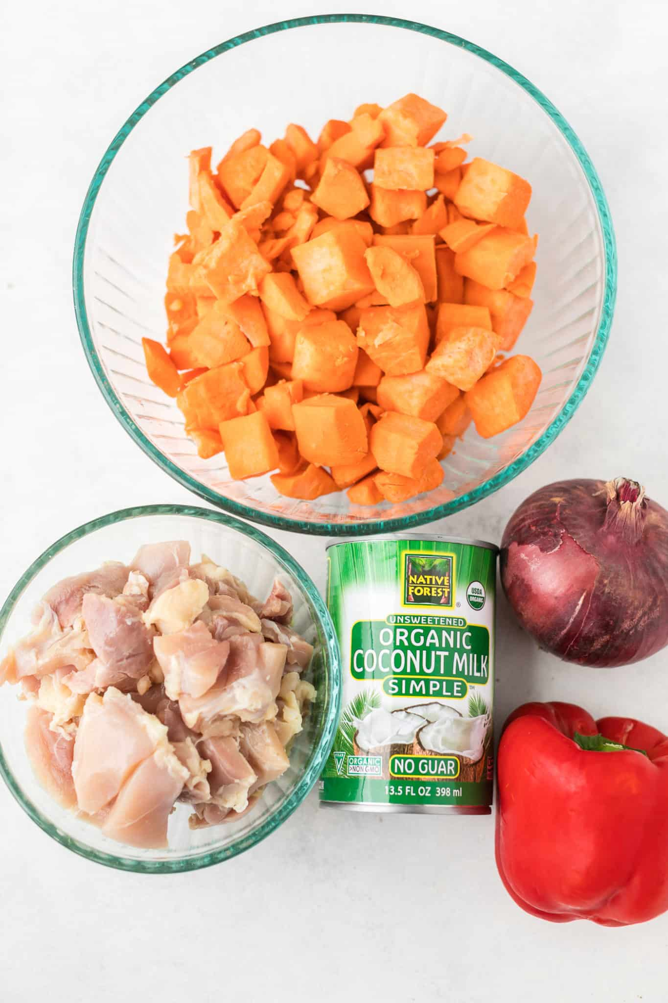 main ingredients for slow cooker chicken curry with sweet potatoes