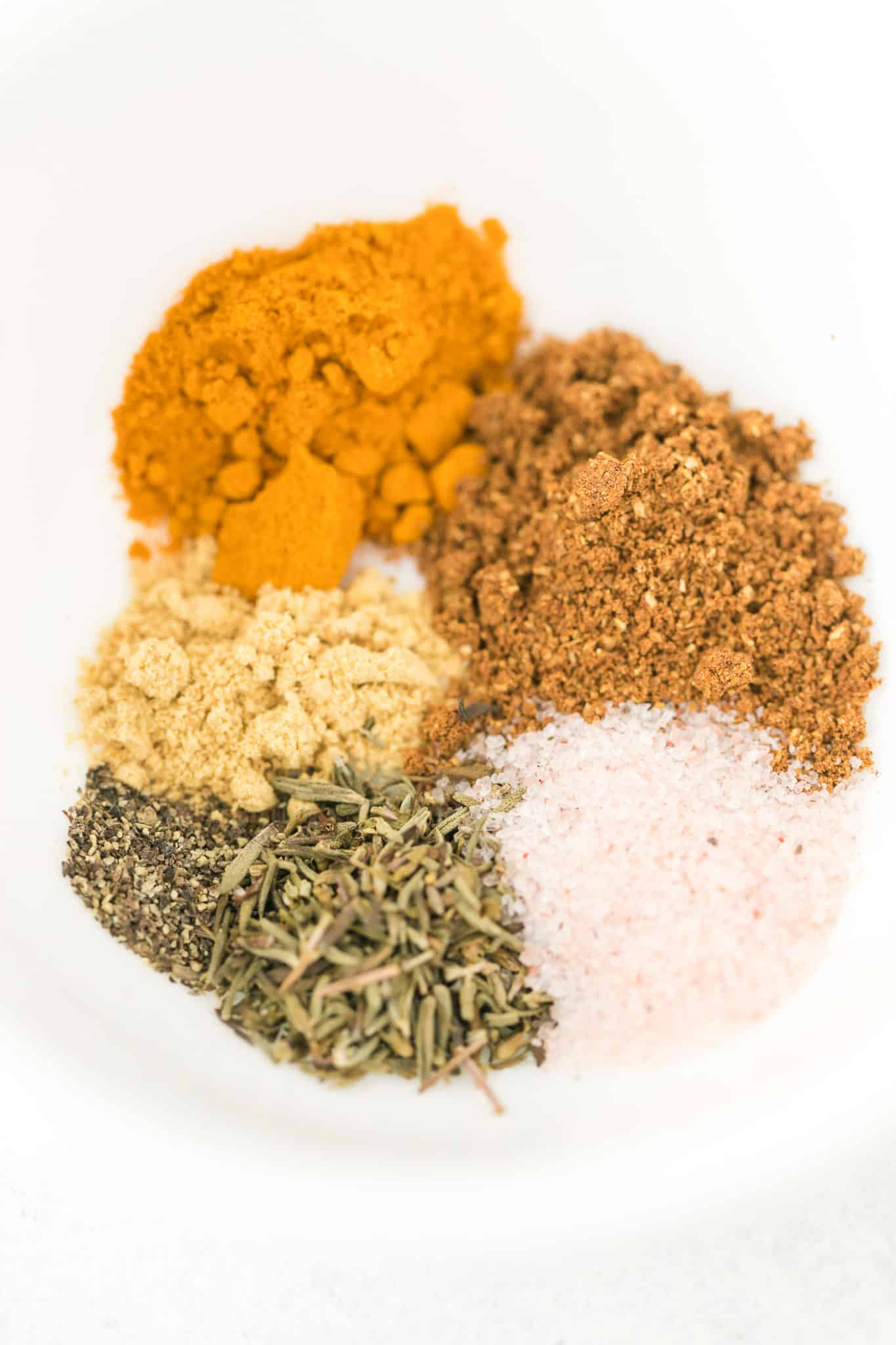 bowl of spices for chicken curry dish