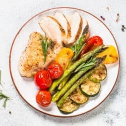 air fryer cooked chicken breast served on a plate with cooked veggies