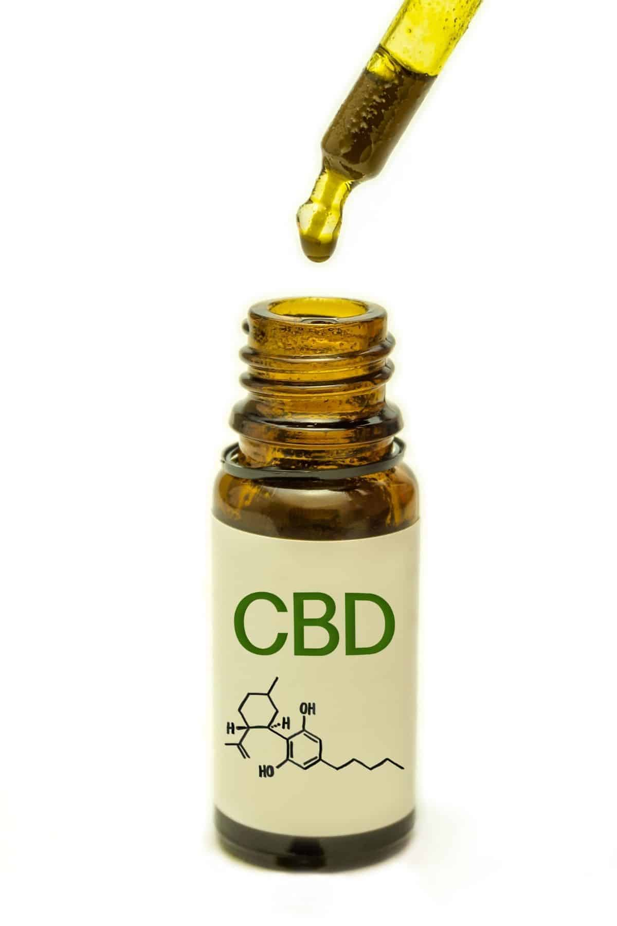 bottle of CBD oil with a dropper