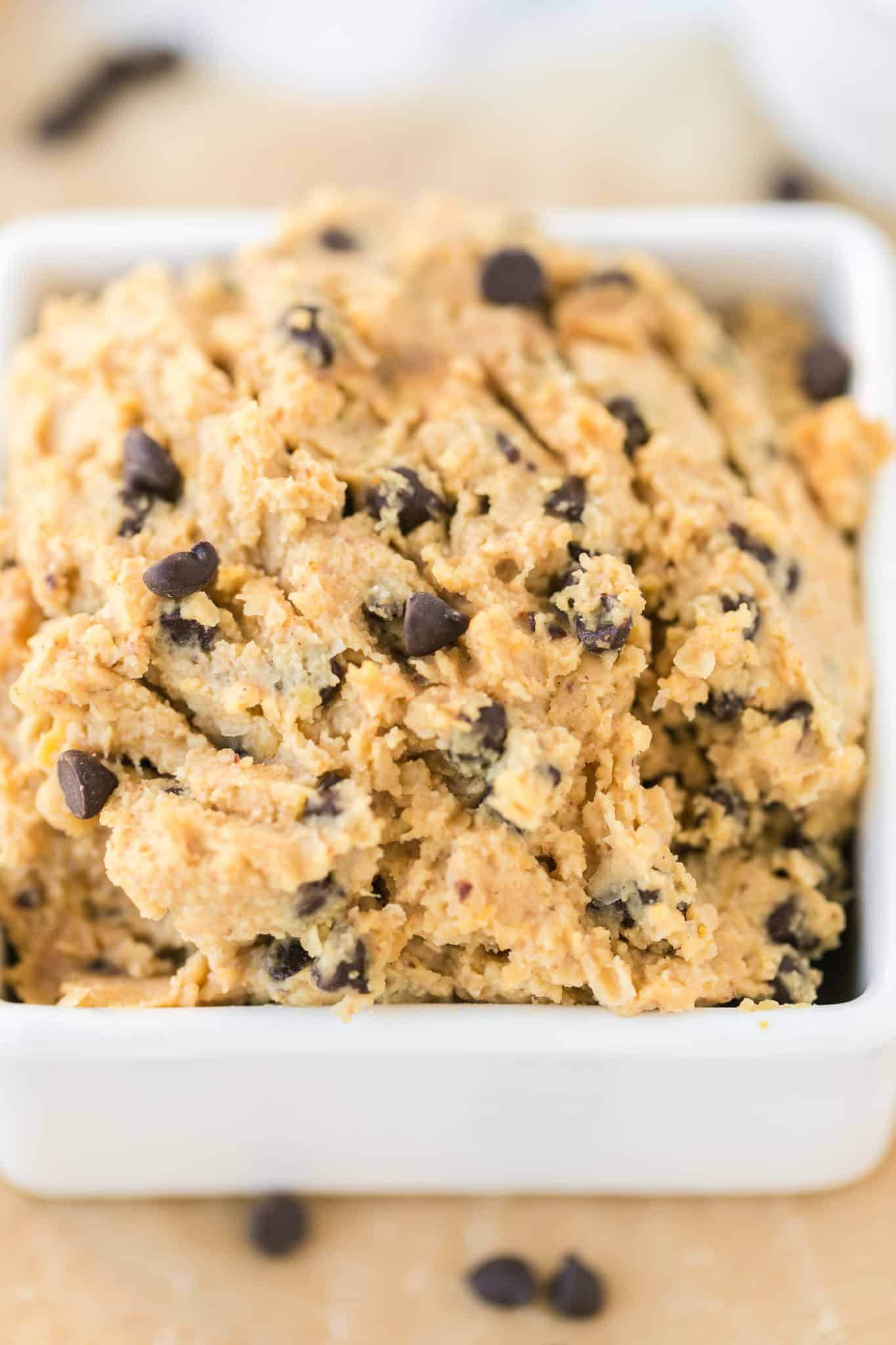 chocolate chip edible cookie dough made with chickpeas