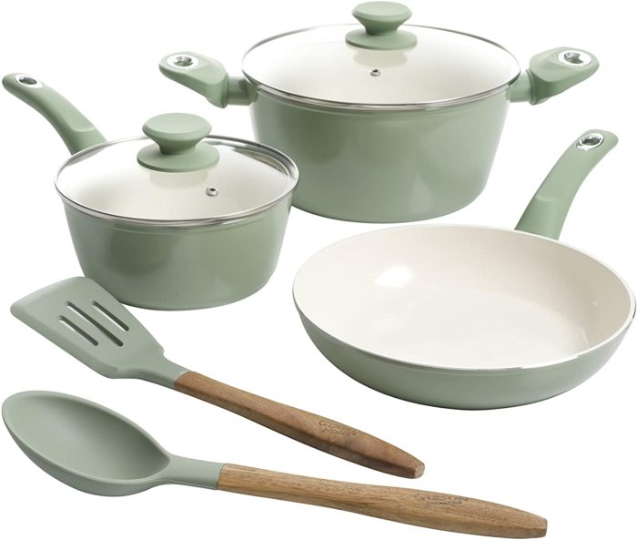 gibson ceramic cookware in mint green
