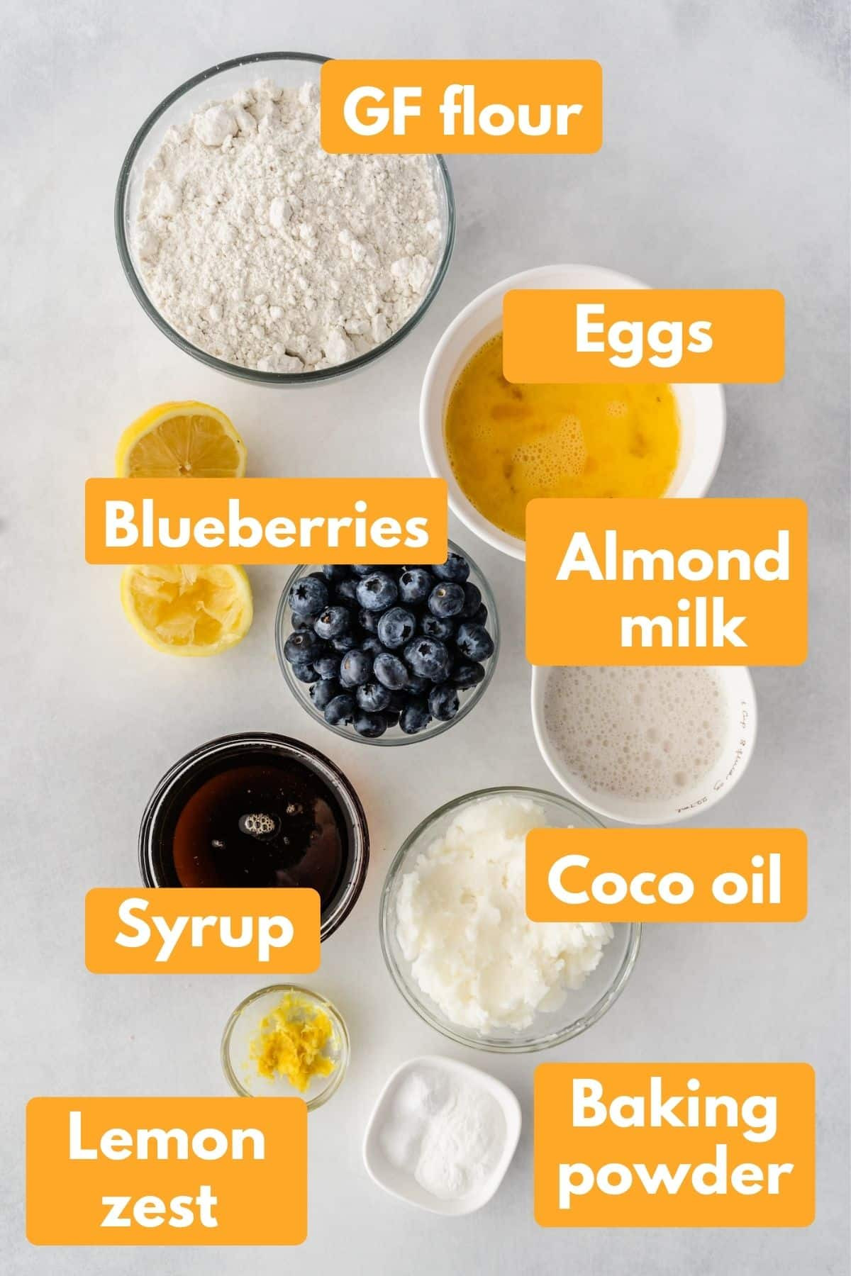 ingredients for gluten free blueberry coffee cake with labels