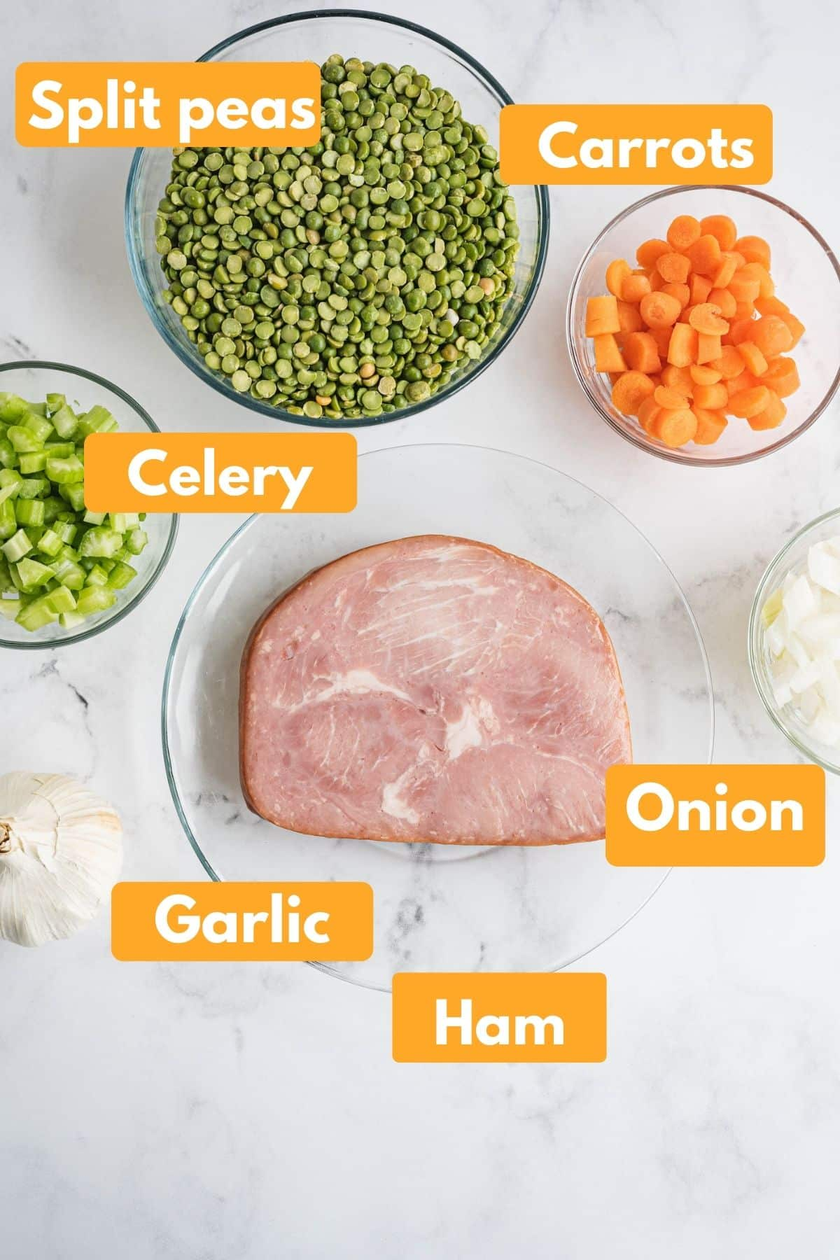 photo with ingredients for split pea soup with labels