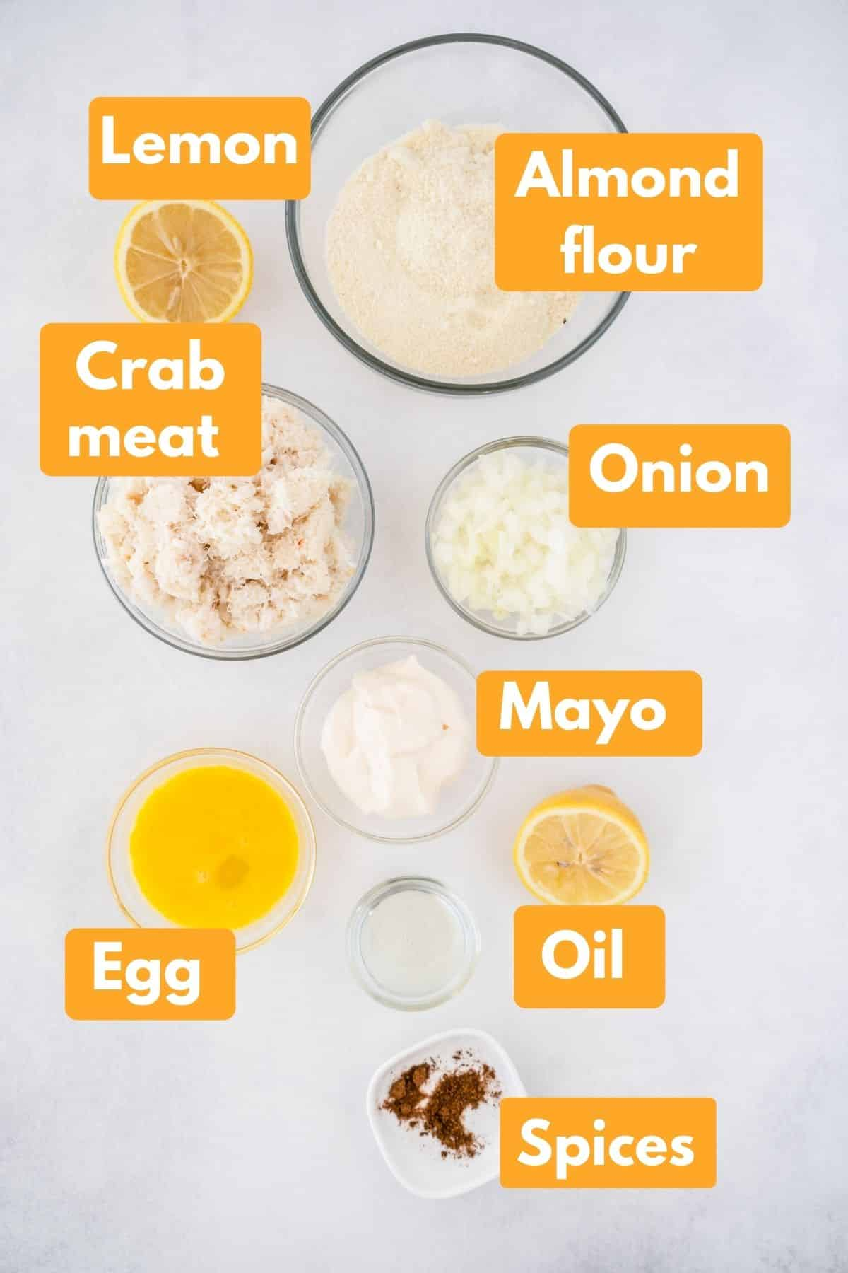 ingredients with labels for crab cakes recipe