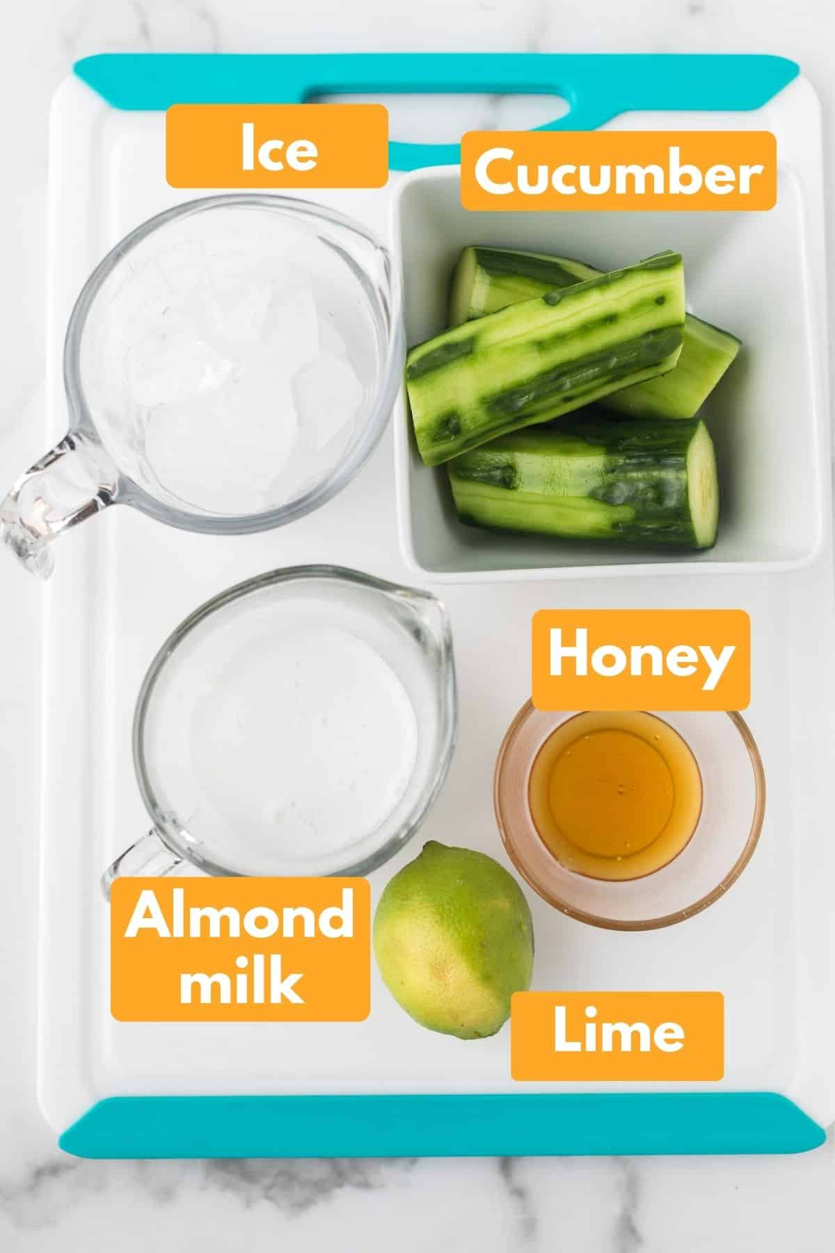 ingredients with labels for cucumber smoothie recipe