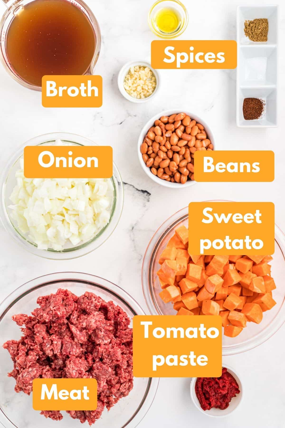 ingredients with labels to make instant pot sweet potato chili with beef