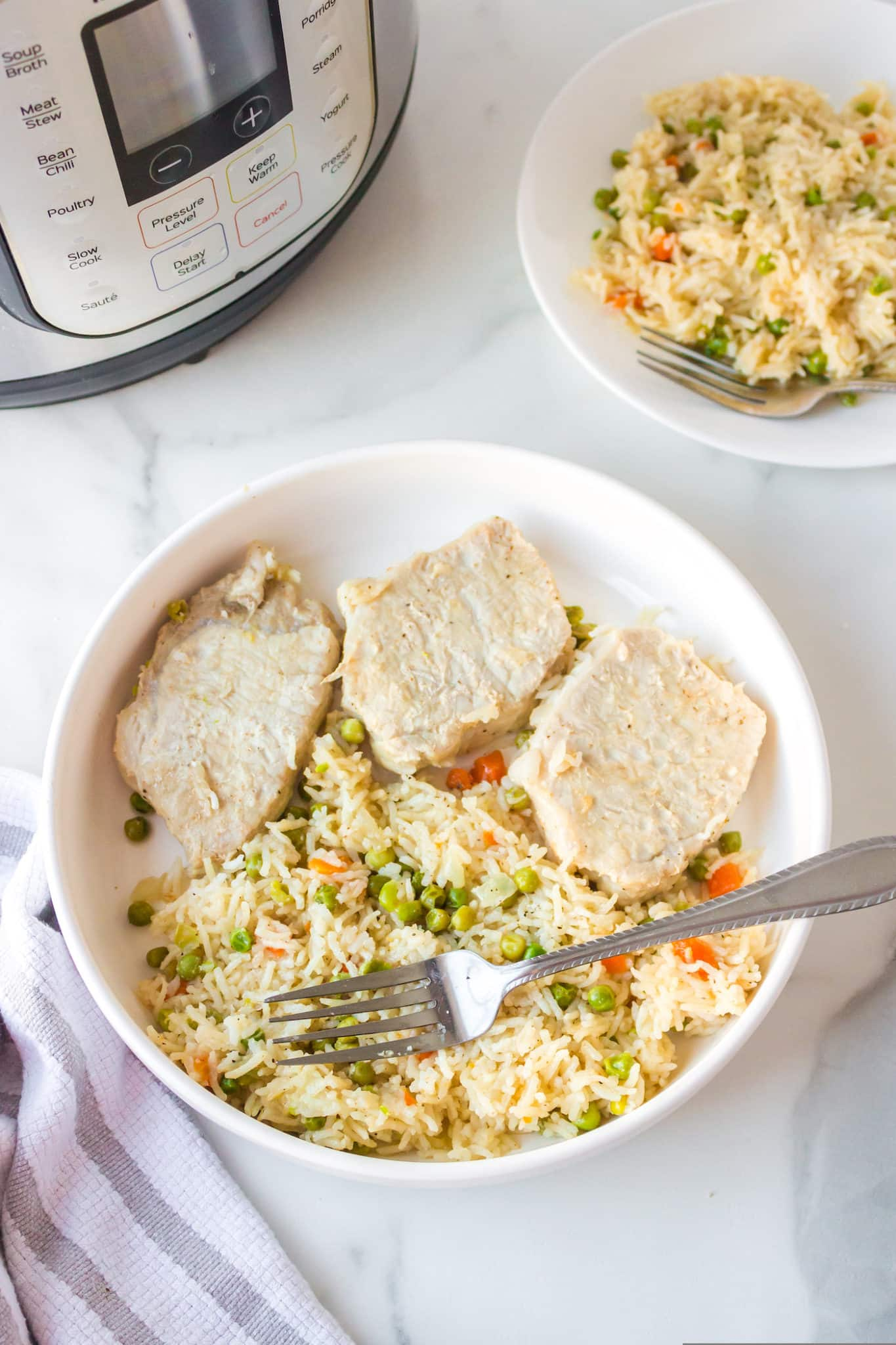 bowl with three pork chops served with rice and veggies and a fork