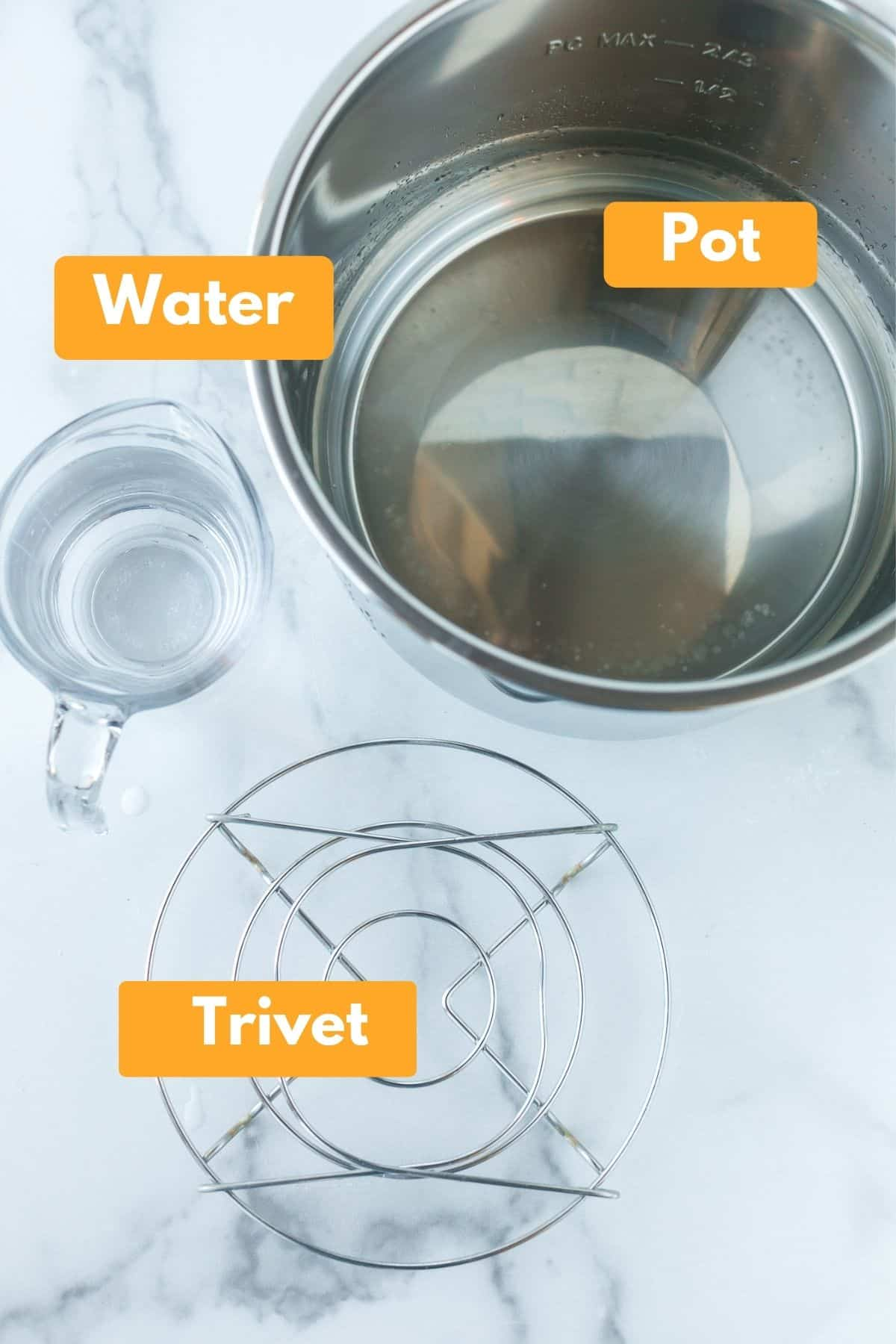 labeled picture with labels of items needed to make instant pot boiled potatoes