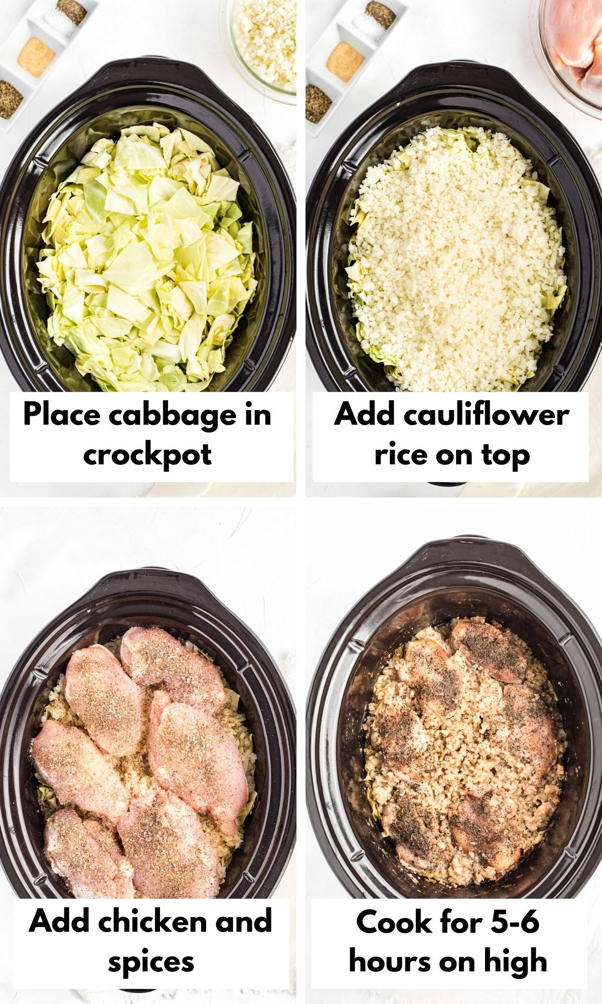 labeled process photos for crockpot chicken and cabbage dish