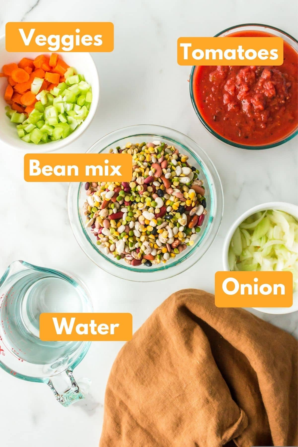 photo with labeled ingredients for 15 bean soup
