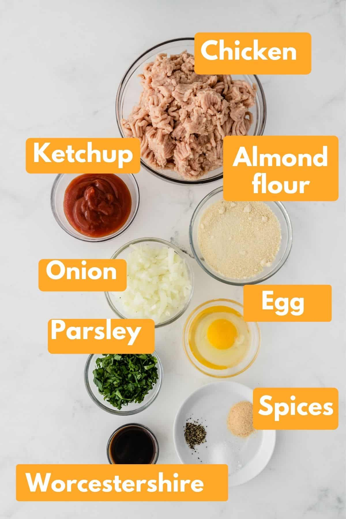photo with labeled ingredients for chicken meatloaf