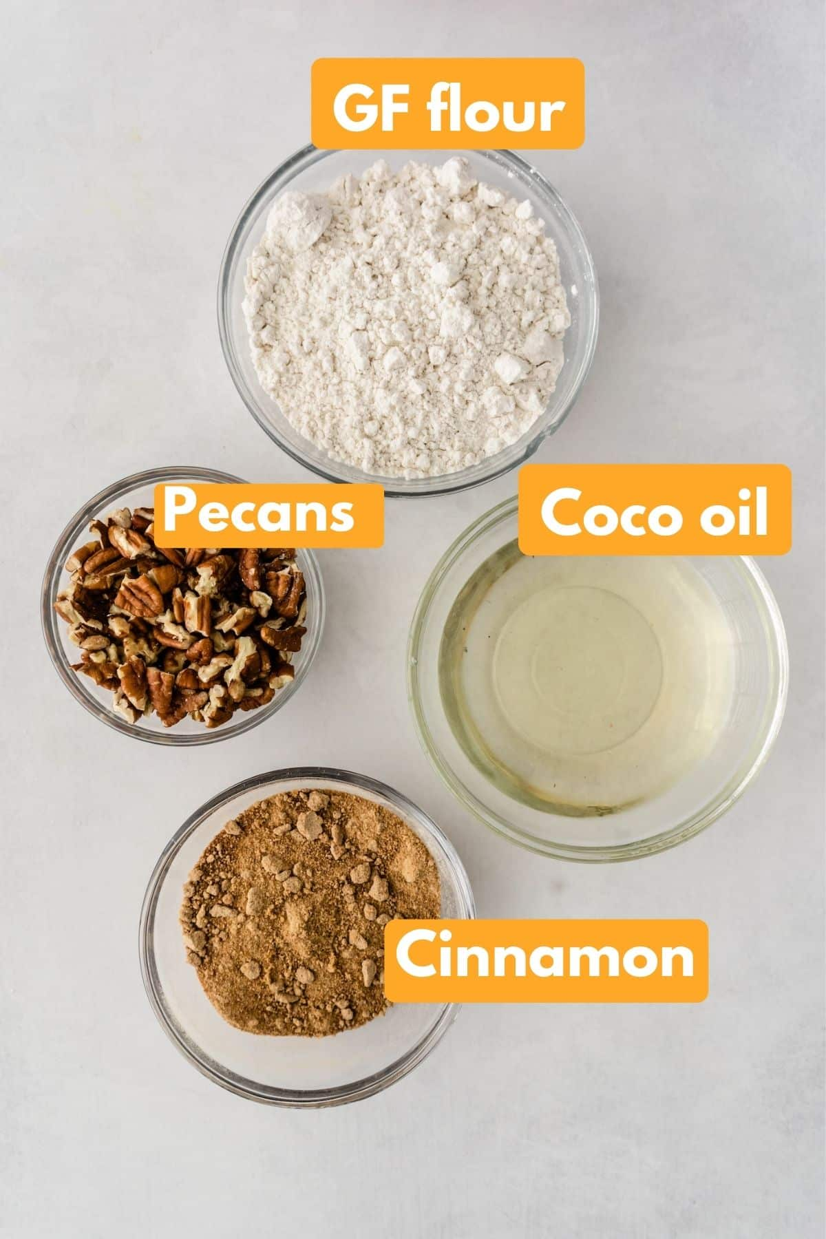 photo with labeled ingredients for gluten free crumble topping