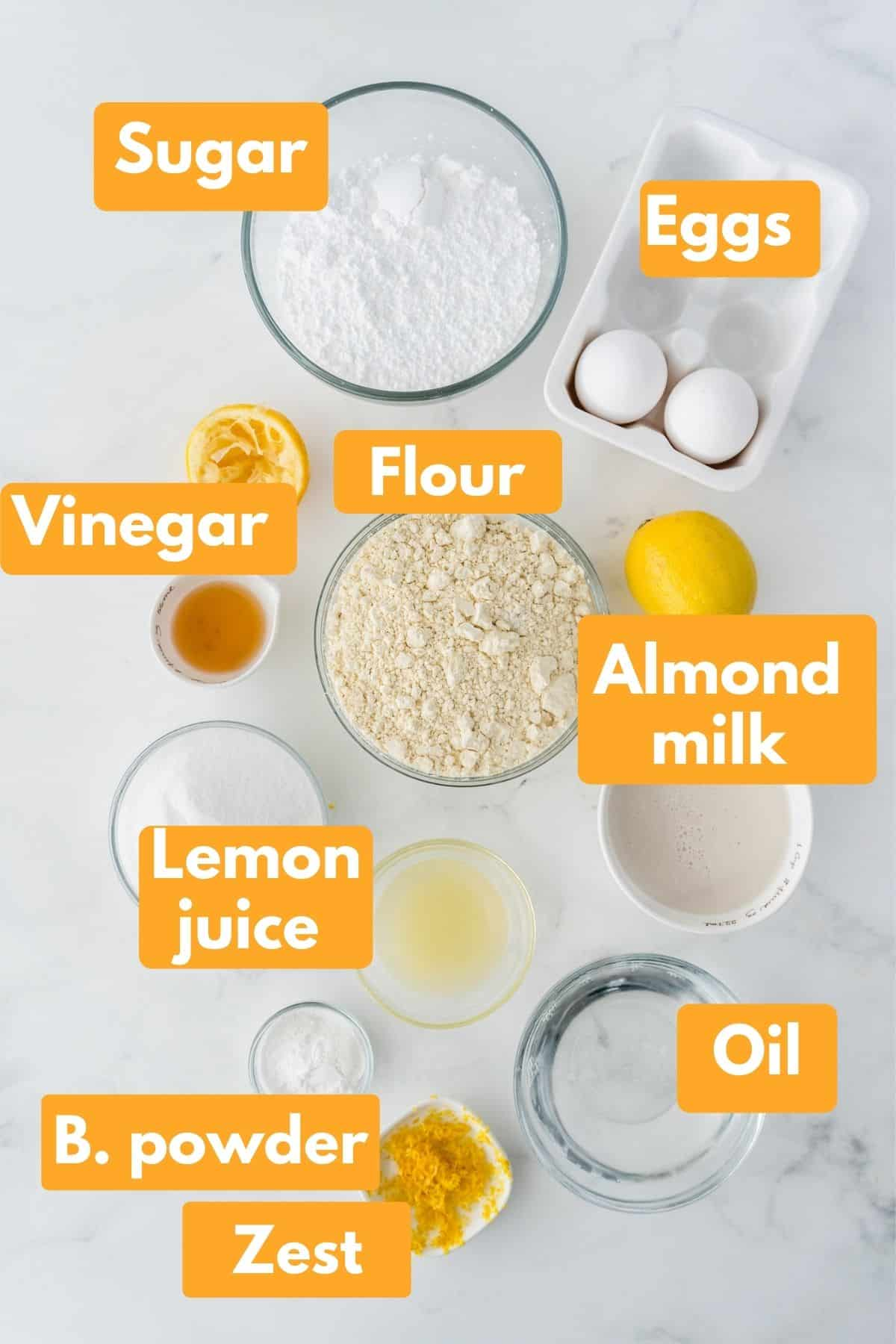 photo with labeled ingredients for gluten free lemon cake