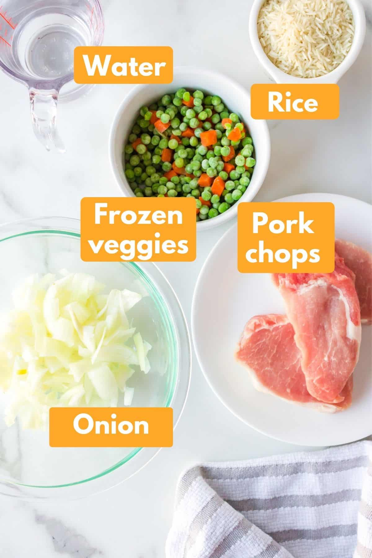 photo with labeled ingredients for instant pot pork chops and rice recipe