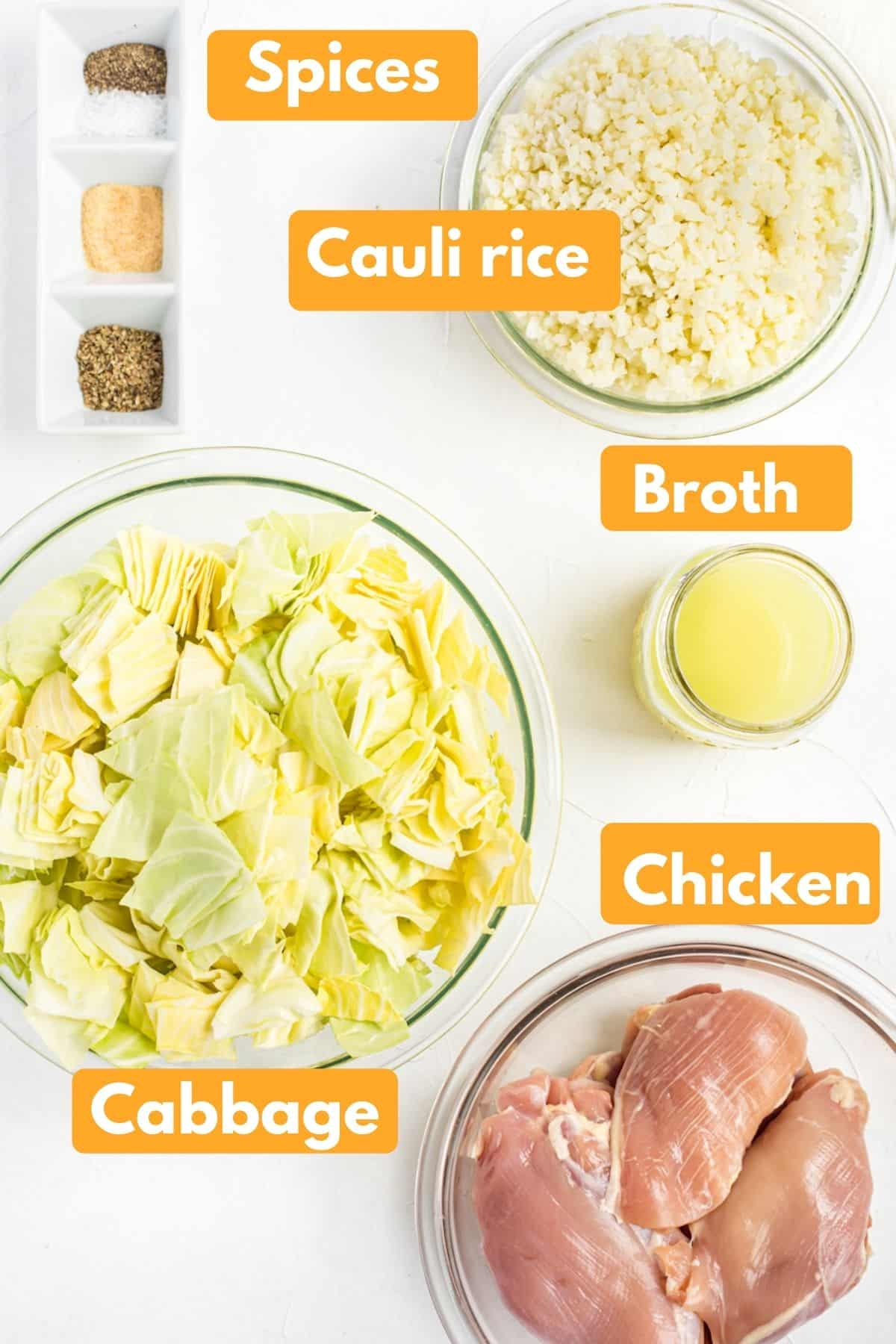 photo with labeled ingredients for keto crockpot chicken thigh recipe