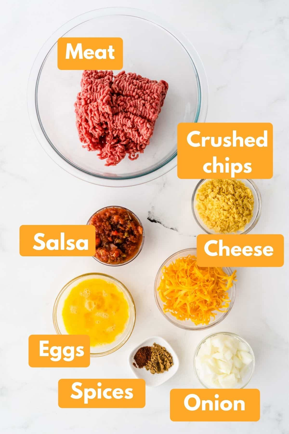 photo with labeled ingredients for taco meatloaf recipe