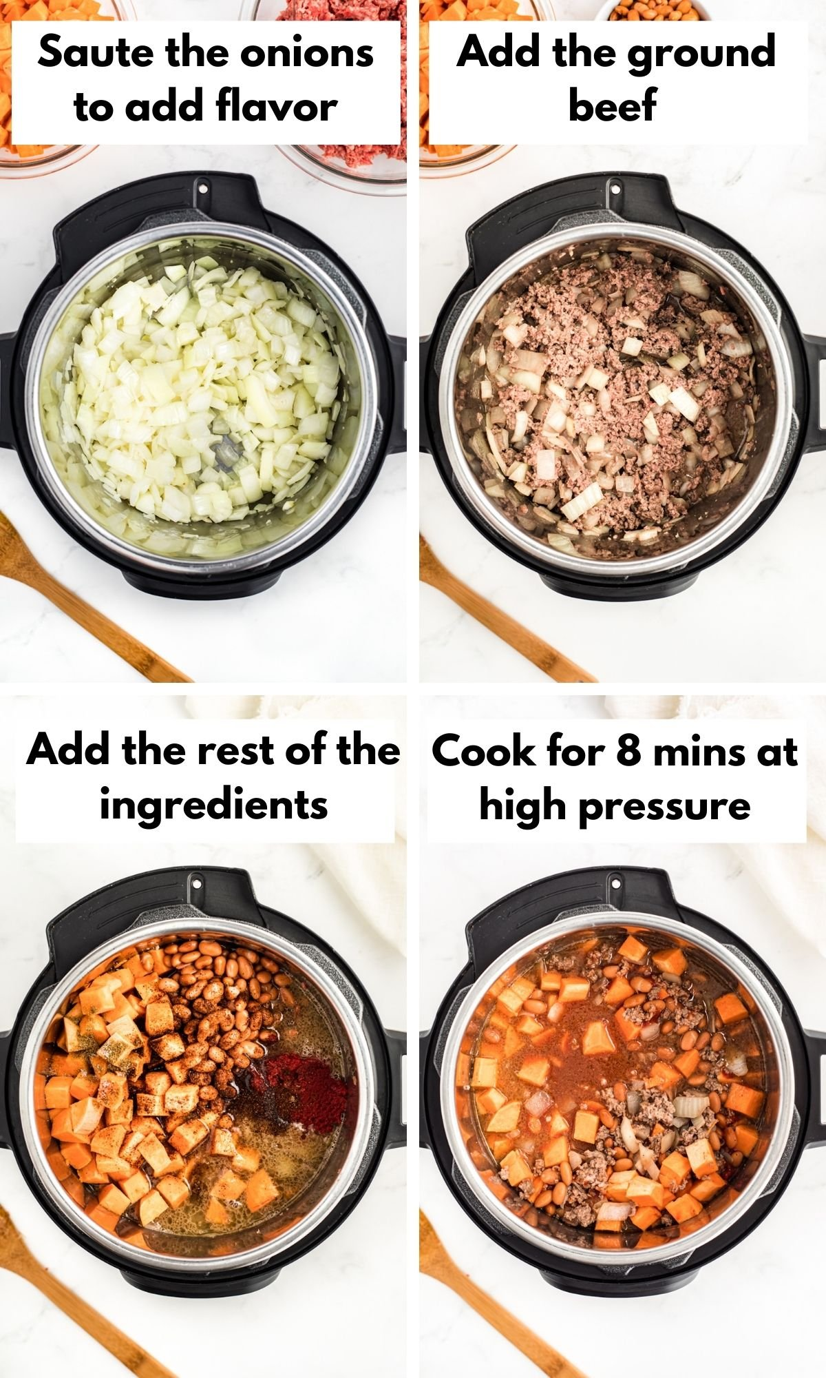 process photos for instant pot sweet potato beef chili