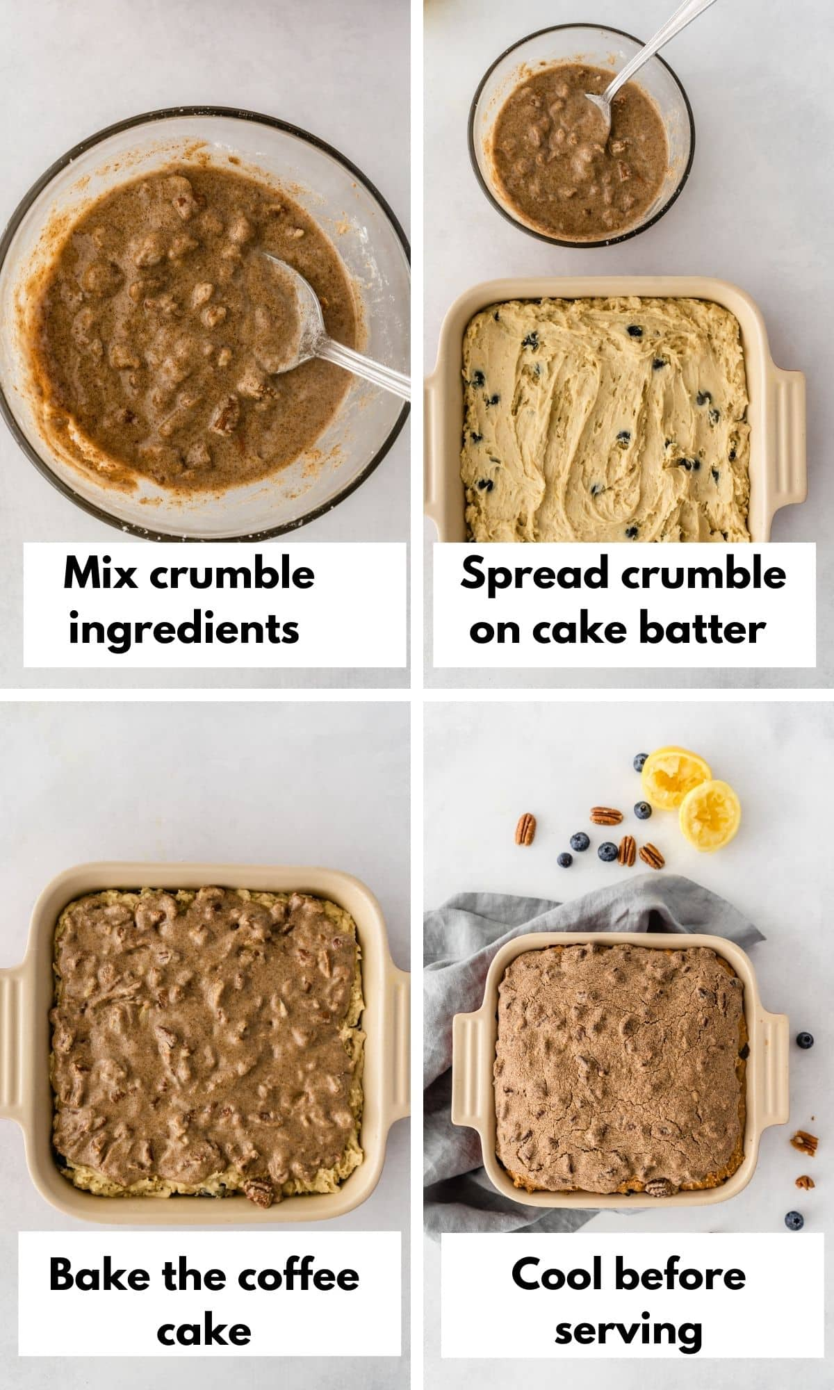 process shots for gluten free coffee cake crumble topping