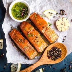 roasted salmon with garlic