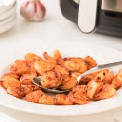 a bowl of air fryer shrimp