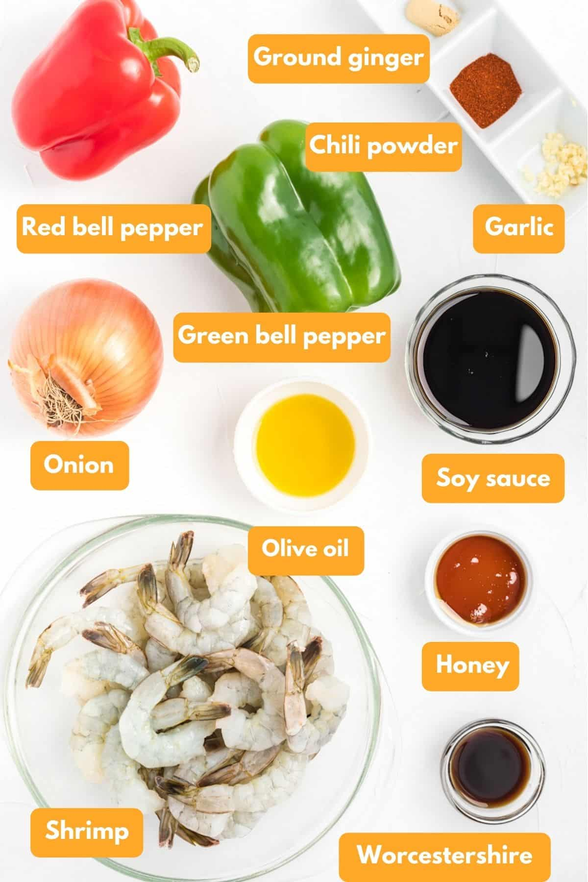Ingredients for shrimp fajitas laid out in bowls